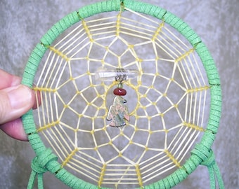 THUNDERBIRD - 5 Inch OOAK Dreamcatcher in Olive Green and Rust by Feathered Dreams