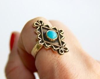 Blue Ring * Southwestern Ring * Boho Rings * Bohemian Rings * Artisan Rings * Blue Jewelry * Unique Rings * Zig Zag Ring * Boho Jewelry