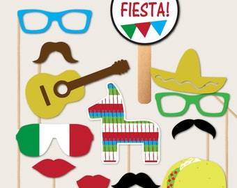 Fiesta Themed Photobooth Props for Cinco De Mayo, Mexican Wedding Photo Booth, May Celebrating Mexico with Pinata, Sombrero, Green White Red