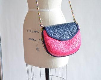 Vintage 1980s COLORBLOCK straw shoulder bag