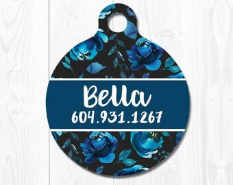 Dog Tag Cat ID Tag Dog Tags for Dogs Round Dog Tag Pet Tags Blue Cat Tag Floral Pet ID Tag Dog id Tags Cute Pet id Tags for Dog Name Tag