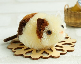 Little 3 color Cat Pom pom DIY Kit - Japanese Craft Kit H363-168