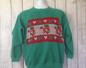 Vintage 80s Ugly Christmas Sweater Bears and Candy Canes Adult M