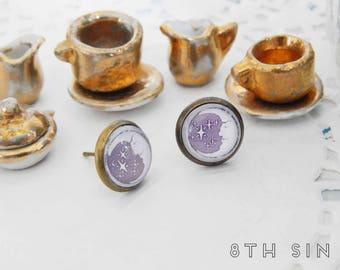 Antique Bronze Moon Stud Earrings, Crescent Moon Stud Earrings, Waxing Moon Stud Earrings, Bronze Moon Earrings, White Moon Earrings