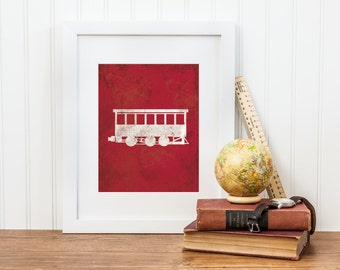 Train Printable - Digital Download - Vintage Train Car Print - Boy Train Nursery