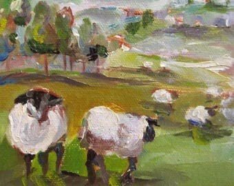 Irish sheep landscape original 7x5 daily oil painting Art by Delilah