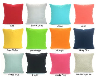 Solid Color Pillow Covers Cushions Decorative Throw Pillows Pillow Covers Lime Green Aqua Orange Coral Pink Gray Black Mix & Match All Sizes