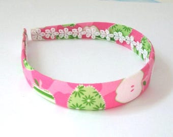 Girls Back to School Apples Fabric Preppy Headband ~ Girls / Adults Fabric Covered Pink and Green Fabric Covered Plastic Headband