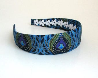 Girls Adults Peacock Fabric Covered Headband, Hard Headband, For Women, Trendy Fashion Hair Accessories