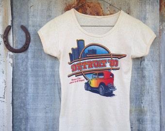 Vintage 80's Hot Rod T Shirt / Rat Rod Detroit Graphic Tee / Women XS / S