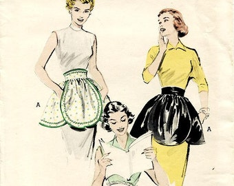 Vintage 50s Apron Pattern - Butterick 6340 - Misses' Petals Hostess Aprons in Three Variations -  One Size Pattern