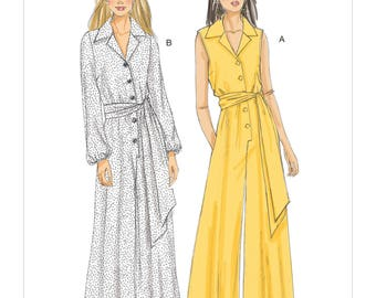 Vogue Jumpsuit Pattern V9245 - Misses'/Misses' Petite Button-Up Jumpsuits and Sash in Two Variations - Very Easy Vogue Pattern