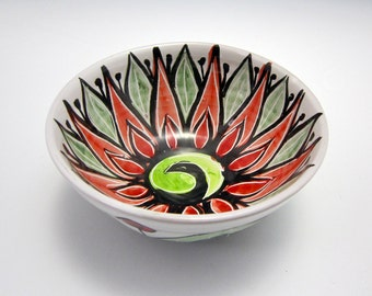 Small Pottery Cereal Bowl - Red Green Lotus Flower - Majolica - Kitchen Bowl - Ice Cream Bowl - Mandala Pattern - Decorative - Gift for Her