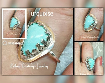 Turquoise Sterling Silver Ring,  Tibetan Turquoise Ring, Bohemian Turquoise Ring, Turquoise Designer Ring, Gift for Her, Mother's Day Gift
