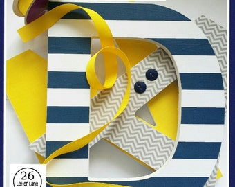 Baby Name Letters, Wooden Wall Decor, Navy, Gold and Grey, Chevron and Stripes, Baby Boy, Nursery Ideas, Wall Hanging, Word Art, Yellow
