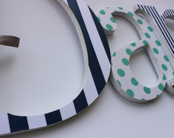 Wood Letters for Baby Boy Nursery, Navy Blue and Teal, Custom Wooden Baby Name Sign, Modern Room Decor, Aqua, Turquoise, Dark Blue