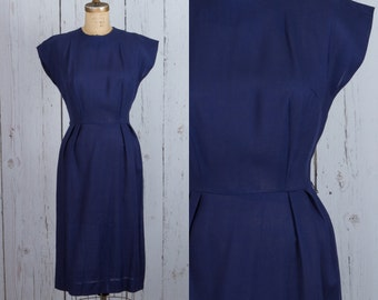Vintage 1950s navy blue dress