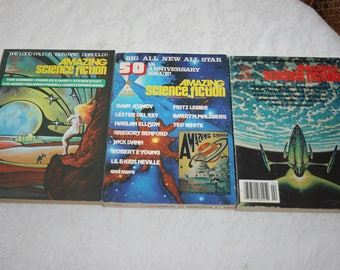 Three 3 Vintage Amazing Science Fiction Magazines Sci Fi Fantasy Science Fiction 1970s