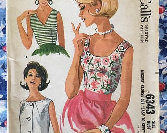 McCall's 6343 COMPLETE vintage sewing pattern Copyright 1962 Misses Blouse in 3 versions Size 16/36