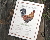 Year of the Rooster 2017 Chinese New Year Handmade Folded Card Watercolor Print. Chinese Zodiac. Gift for Chinese New Year
