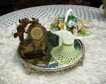 Antique Vintage Victorian Plateau Mirror/Beveled Edge Plateau Mirror