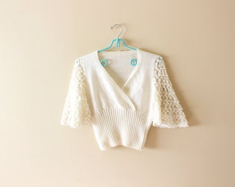 vintage sweater 60's ivory off white crochet bell sleeves hippie retro 1960's women's clothing size xs s extra small