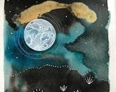 Moon Series #6 Original Painting Handdrawn Watercolor Gold Turquoise Ink Indigo Illustration