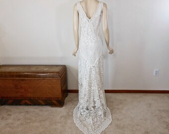 Vintage Lace BOHEMIAN Wedding Dress Simple Wedding Dress IVORY wedding dress  BEACH Wedding Dress Handmade Sz Large