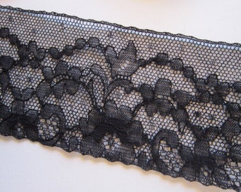 vintage flat lace - black lace - 2.25 x 70 inches