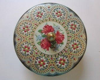 vintage biscuit tin - floral, textured, embosed - 2 x 6 inch round tin with finial, MADE IN ENGLAND