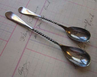 2 vintage Windsor twisted handle spoons - silver plated twisted handles spoons - 4.75 and 5.75 inches - H&T Mfg Co A1, W.B. 1900 backstamps