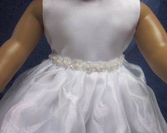 Doll communion dress will fit 18 inch play dolls such as American Girl and Harmony Club