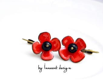 Poppy - enamel earrings - flower - red