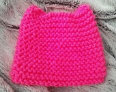 Brite Pink Kitty Cat Ear Hand Knit Hat
