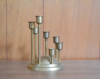 vintage graduating brass candlestick holder / brass candelabra / brass centerpiece