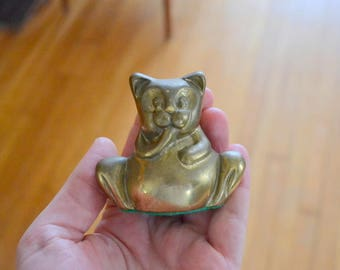 vintage brass cat figurine / brass home decor accents / metal kitty cat / mothers day / mom
