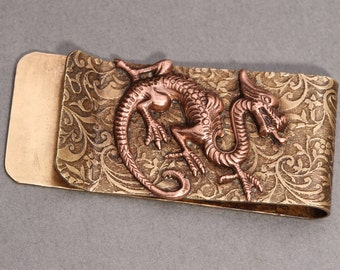 Brass Money Clip Money Clip Dragon Money Clip Men Steampunk Men