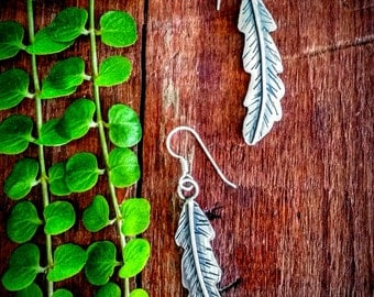 Unique Sterling Silver Jewelry,  Sterling silver FeatherEarrings. Feather Jewelry, Rustic Jewelry, Southwest Jewelry