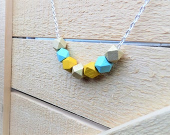 Wood Bead Necklace - Geometric, Natural wood, Jewelry, Silver Necklace, Chain, Women, Accessories, For Her, Jewelry Gift, Painted, Handmade