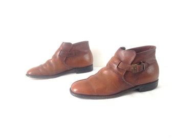 mens size 9.5 brown leather CHELSEA CLASSIC buckle ankle BEATLE boots