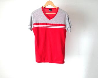 Athletic GREY & red two tone JERSEY style v-neck athletic t-shirt vintage 80s short sleeve men's vintage shirt