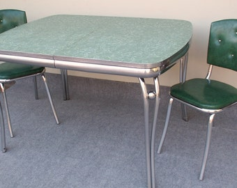 Vintage Green Formica and Chrome Table with Two Green Chairs PICK UP ONLY