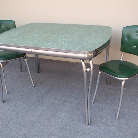 Vintage Green Formica and Chrome Table with Two Green Chairs