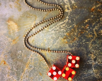 """Lucite Dice Necklace / Lucite  Dice / Red / .75"""" / 24"""" Ball Chain"""