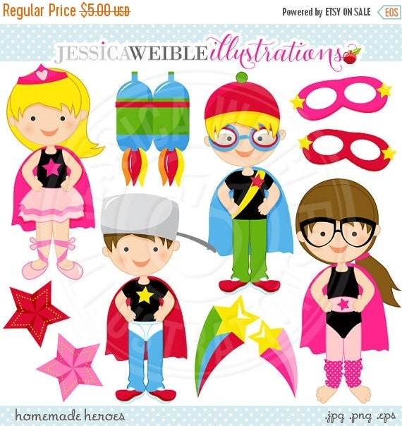 ON SALE Homemade Heroes Cute Digital Clip Art - Commercial Use Ok - Hero Graphics, Super Hero Clipart