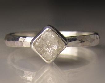 Raw Diamond Ring, White Rough Diamond Engagement Ring, Rough Diamond Cube Ring
