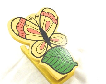 Butterfly Mini Stapler, Vintage Wood Stapler from Viking in Bright Yellow, Orange and Green (M1)