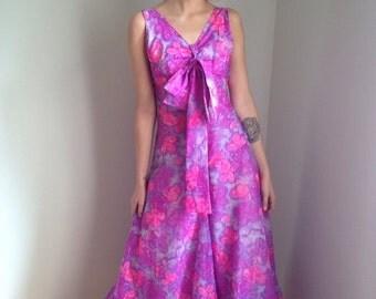 ON SALE vintage 70s jumpsuit palazzo pants pink floral psychedelic boho hippie size xs