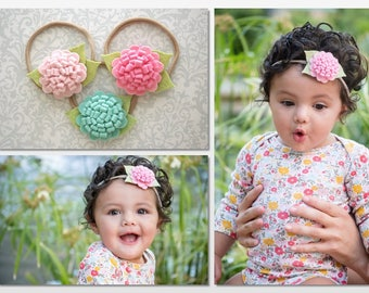 Felt Flower Headband, Baby Flower Headband, Baby Headband, Aqua Headband, Felt Baby Headband, Newborn Headband, Toddler Headband, Baby Girl