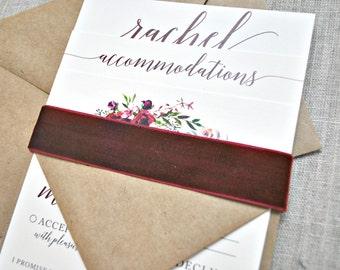 Bryce Rustic Watercolor Floral Wreath Wedding Invitation Suite w/ Burgundy Velvet Band -  Wine Burgundy, Ivory, Kraft Brown